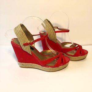 WHBM Adaira Red Coral Wedge Sandal